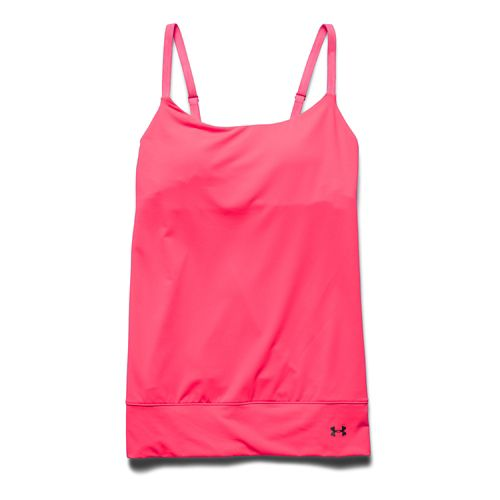 Womens Under Armour Essential Banded Tank Sport Top Bras - Pink Shock M