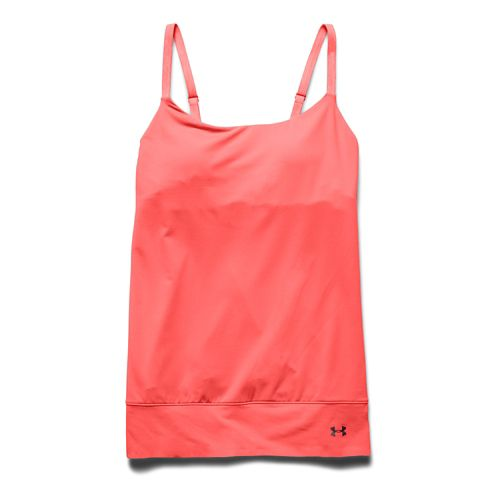 Womens Under Armour Essential Banded Tank Sport Top Bras - After Burn S