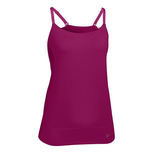 Womens Under Armour Essential Banded Tank Sport Top Bras - Amethyst XL