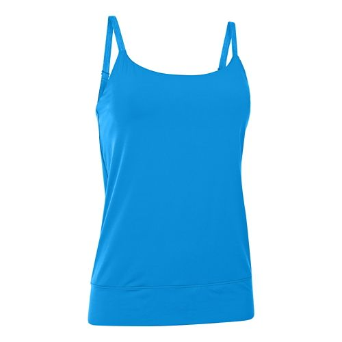 Womens Under Armour Essential Banded Tank Sport Top Bras - Electric Blue L