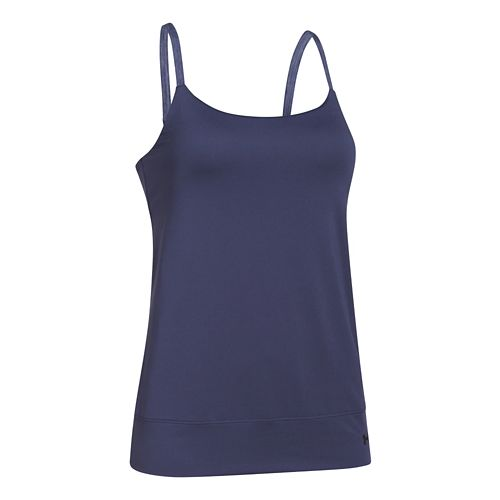 Womens Under Armour Essential Banded Tank Sport Top Bras - Ink S