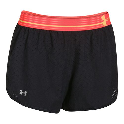 Womens Under Armour Perfect Pace Lined Shorts - Black/Orange L