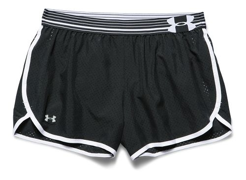 Womens Under Armour Perfect Pace Lined Shorts - Black/White M