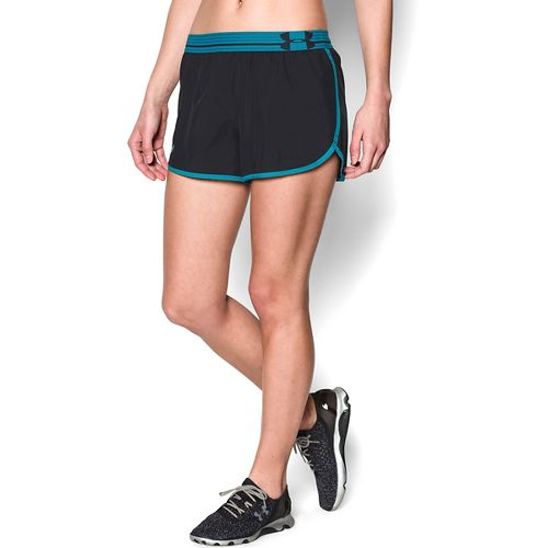 Womens Under Armour Perfect Pace Lined Shorts - Black/Pacific M