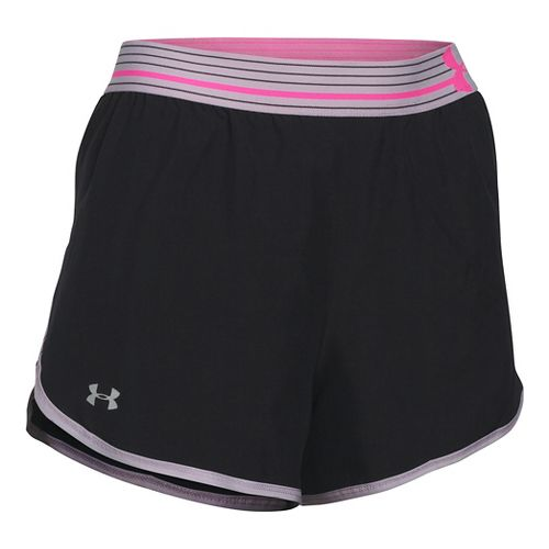 Womens Under Armour Perfect Pace Lined Shorts - Black/Cloud Grey S