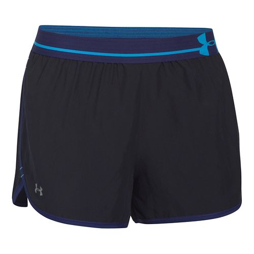 Womens Under Armour Perfect Pace Lined Shorts - Black/Europa Purple L