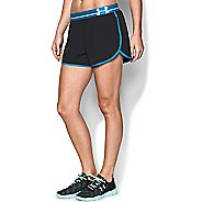 Womens Under Armour Perfect Pace Lined Shorts - Black/Jazz Blue M
