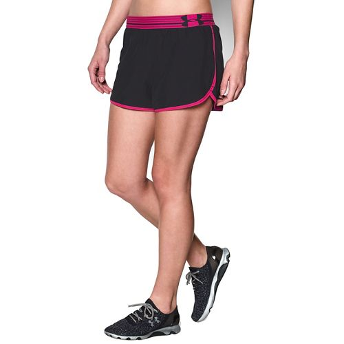 Womens Under Armour Perfect Pace Lined Shorts - Black/Rebel Pink XL