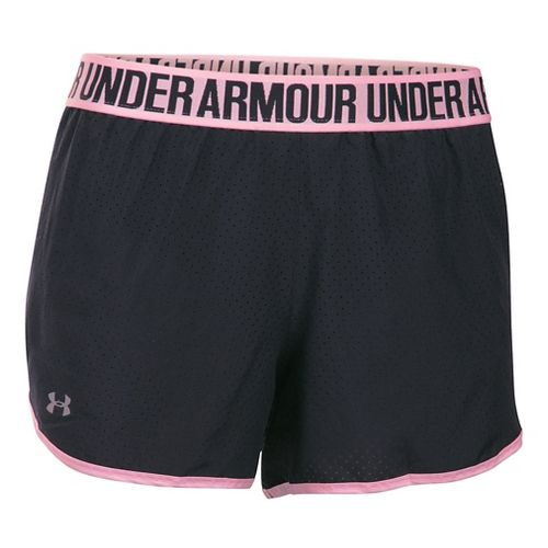 Womens Under Armour Perfect Pace Lined Shorts - Black/Petal Pink XL