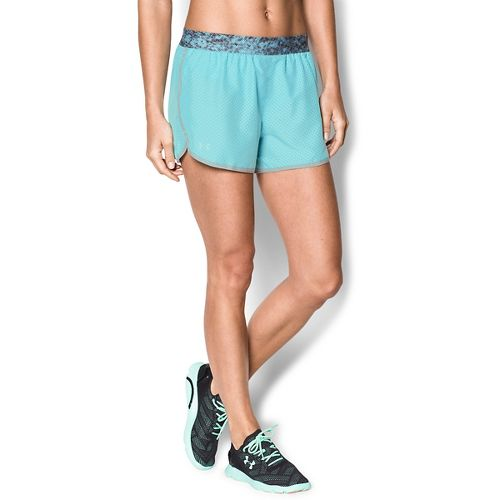 Womens Under Armour Perfect Pace Lined Shorts - Veneer/Black L