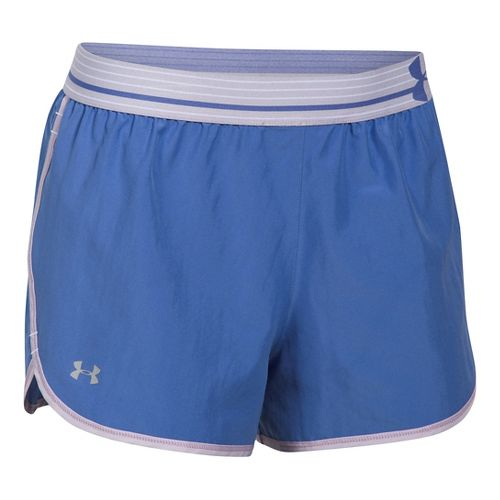 Womens Under Armour Perfect Pace Lined Shorts - Mirror/Cloud Grey L