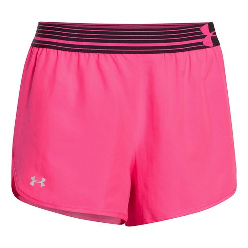 Womens Under Armour Perfect Pace Lined Shorts - Cerise/Black L
