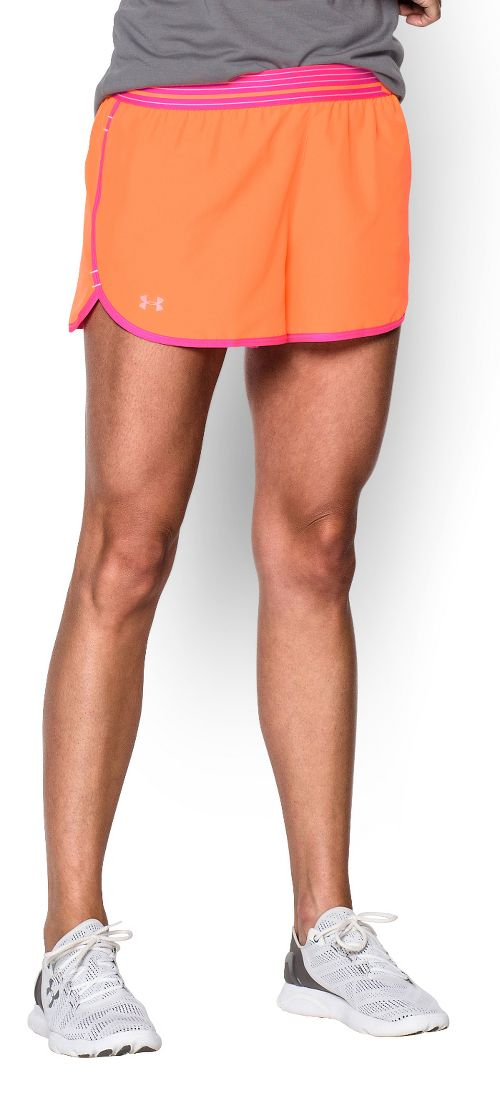 Womens Under Armour Perfect Pace Lined Shorts - Cyber Orange/Pink L