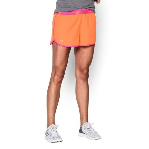 Womens Under Armour Perfect Pace Lined Shorts - Cyber Orange/Pink XL