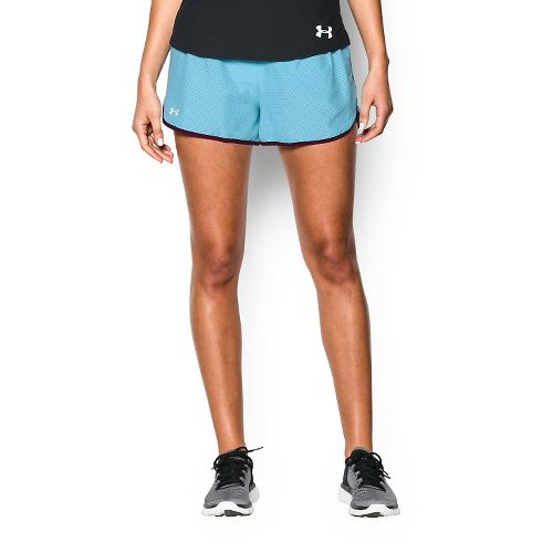 Womens Under Armour Perfect Pace Lined Shorts - Sky Blue/Beet M
