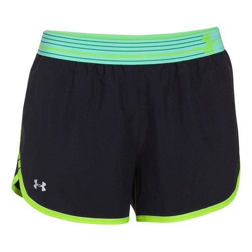 Womens Under Armour Perfect Pace Lined Shorts - Black/Laser Yellow XL