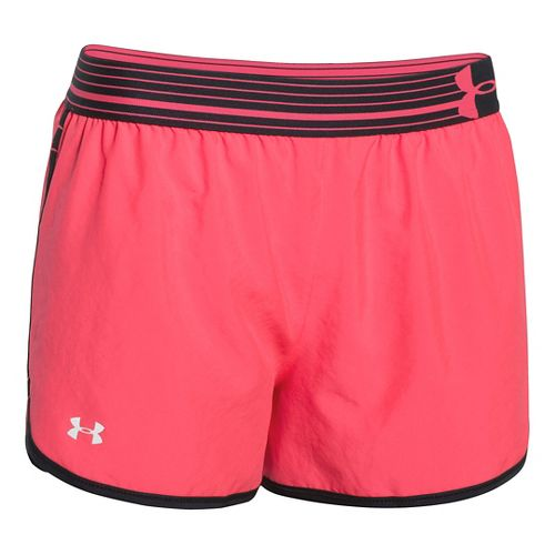 Womens Under Armour Perfect Pace Lined Shorts - Pink Shock/Black L
