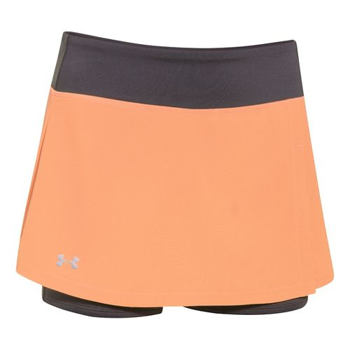 Womens Under Armour Get Set Go Skort Fitness Skirts - Afterglow/Gray L