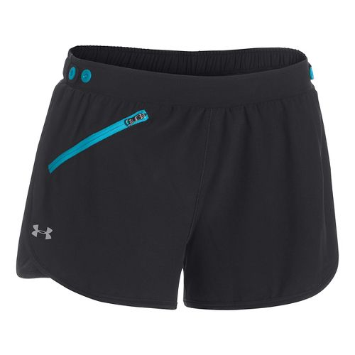 Womens Under Armour Fly Fast Lined Shorts - Black/Island Blue S