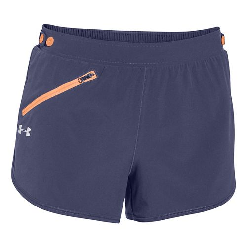Womens Under Armour Fly Fast Lined Shorts - Faded Ink/Aferglow XS
