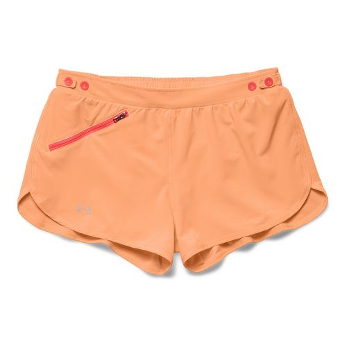 Womens Under Armour Fly Fast Lined Shorts - Afterglow/After Burn XL