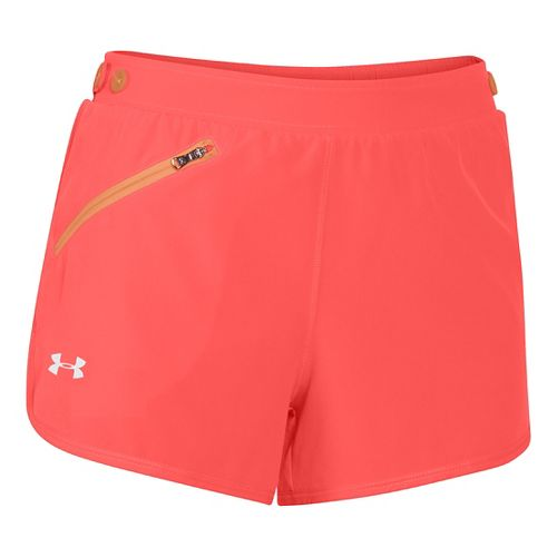 Womens Under Armour Fly Fast Lined Shorts - After Burn/Afterglow S