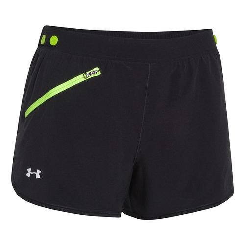 Womens Under Armour Fly Fast Lined Shorts - Black/Laser Yellow M