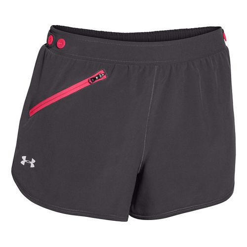 Womens Under Armour Fly Fast Lined Shorts - Dark Grey/Pink Shock XL