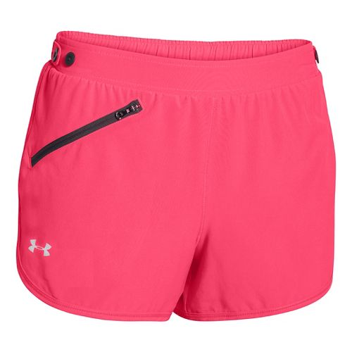 Womens Under Armour Fly Fast Lined Shorts - Pink Shock/Dark Grey M