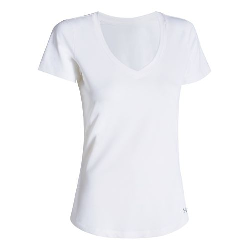 Womens Under Armour Perfect Pace T Short Sleeve Technical Tops - White/White M