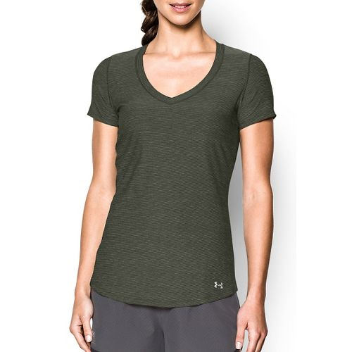 Womens Under Armour Perfect Pace T Short Sleeve Technical Tops - Downtown Green M