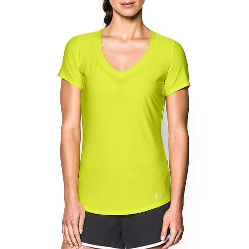 Womens Under Armour Perfect Pace T Short Sleeve Technical Tops - Flash Light XS