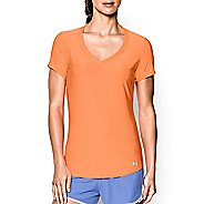 Womens Under Armour Perfect Pace T Short Sleeve Technical Tops - Cyber Orange M