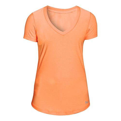 Womens Under Armour Perfect Pace T Short Sleeve Technical Tops - Afterglow/Afterglow XS