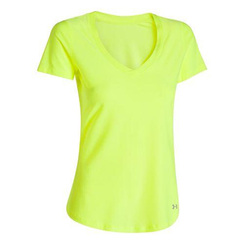 Womens Under Armour Perfect Pace T Short Sleeve Technical Tops - Laser Yellow S