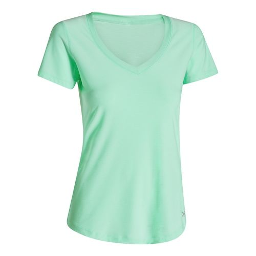 Womens Under Armour Perfect Pace T Short Sleeve Technical Tops - Mint L