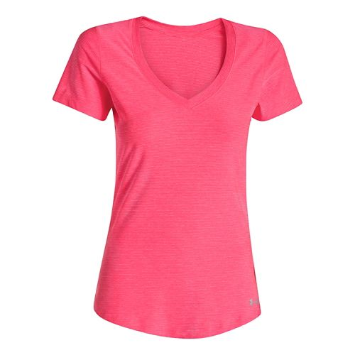 Womens Under Armour Perfect Pace T Short Sleeve Technical Tops - Pink Shock L