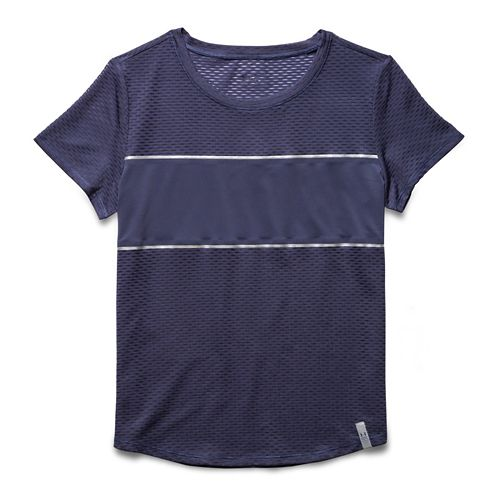 Womens Under Armour Fly Fast Mesh Short Sleeve Technical Tops - Faded Ink/Faded Ink M ...