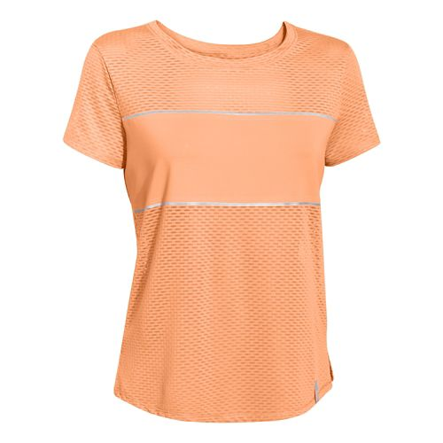 Womens Under Armour Fly Fast Mesh Short Sleeve Technical Tops - Afterglow/Afterglow L