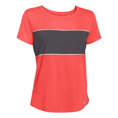 Womens Under Armour Fly Fast Mesh Short Sleeve Technical Tops - After Burn/Gray XS