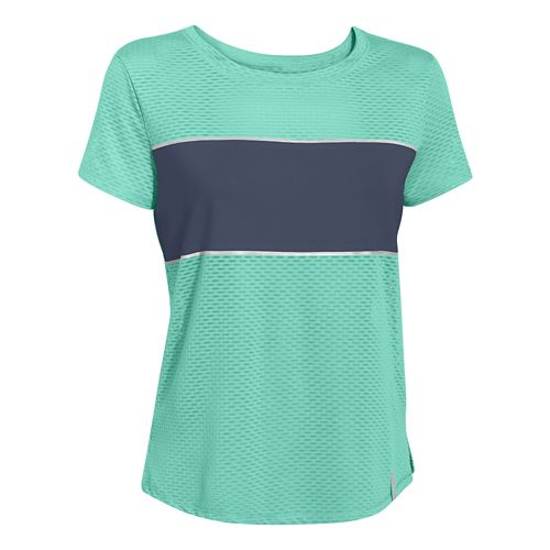 Womens Under Armour Fly Fast Mesh Short Sleeve Technical Tops - Crystal/Academy L