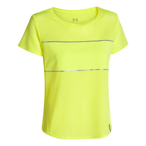 Womens Under Armour Fly Fast Mesh Short Sleeve Technical Tops - Laser Yellow L