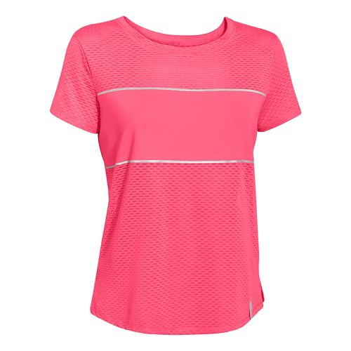 Womens Under Armour Fly Fast Mesh Short Sleeve Technical Tops - Pink Shock L
