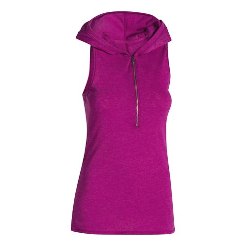 Womens Under Armour Charged Cotton Tri-Blend Perfect Sleeveless Hoody Technical Tops - Amethyst S