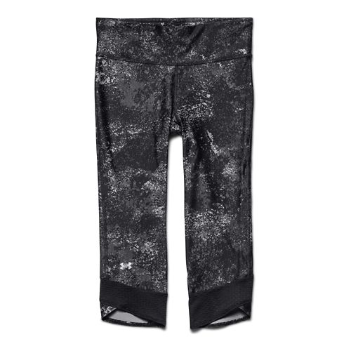 Womens Under Armour Fly-By Printed Capri Tights - Black/Black XL