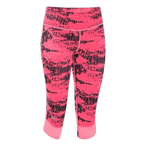 Womens Under Armour Fly-By Printed Capri Tights - Pink Shock/Black M
