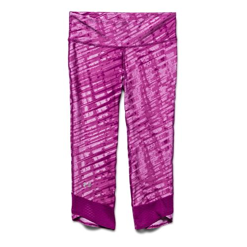 Womens Under Armour Fly-By Printed Capri Tights - Aubergine/Aubegine XS