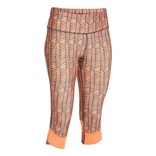 Womens Under Armour Fly-By Printed Capri Tights - Afterglow/Afterglow M