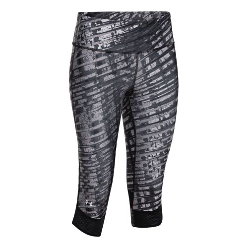 Womens Under Armour Fly-By Printed Capri Tights - Faded Ink/Black S