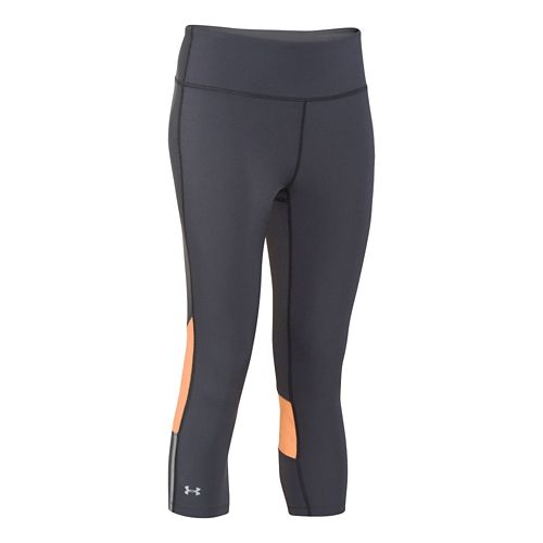 Womens Under Armour ArmourVent Stretch Woven Capri Tights - Gray/Afterglow M